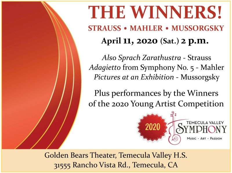 THE WINNERS! - Strauss, Mahler, Mussorgsky and 2020 Concerto Winners @ Golden Bears Theater - Temecula Valley High School