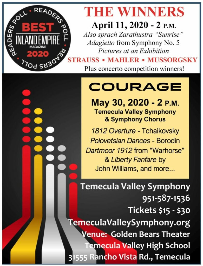 Temecula Valley Symphony Winners and Courage concerts.