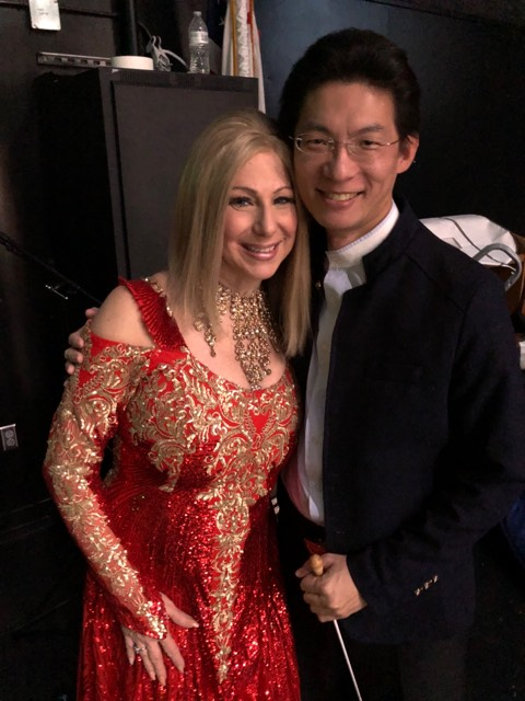 Conductor Zun-Hin Woo with Sharon Owens as Barbra Streisand